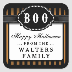 Halloween BOO Orange & Black Striped Treat Label Square Sticker