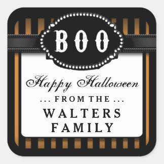 Halloween BOO Orange & Black Striped Treat Label Square Sticker