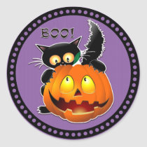 Halloween Boo Scary Cat Pumpkin Classic Round Sticker