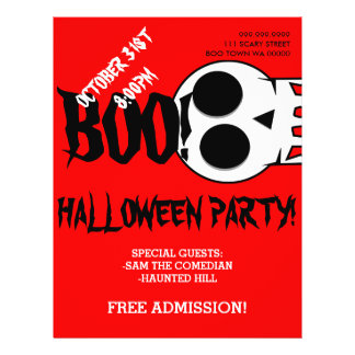 Halloween Boo Skull Party Announcement Flyer