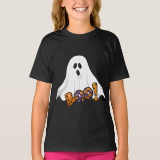 Halloween BOO / Spooky Ghost on Black T-Shirt