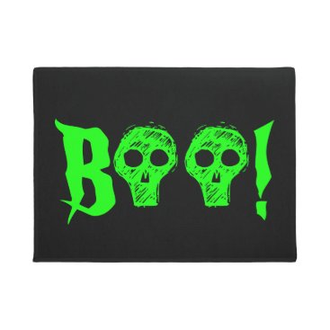 Halloween Themed Halloween Boo Spooky Skulls Black Green Doormat