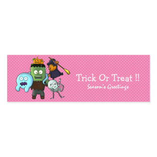Halloween Bookmark Pink Double-Sided Mini Business Cards (Pack Of 20)