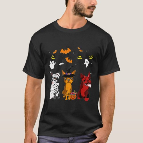 Halloween Boston_Terrier Dogs Lovers Mummy Witch D T_Shirt