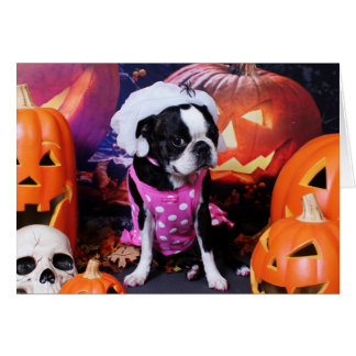 Halloween - Boston Terrier - Georgia Greeting Cards