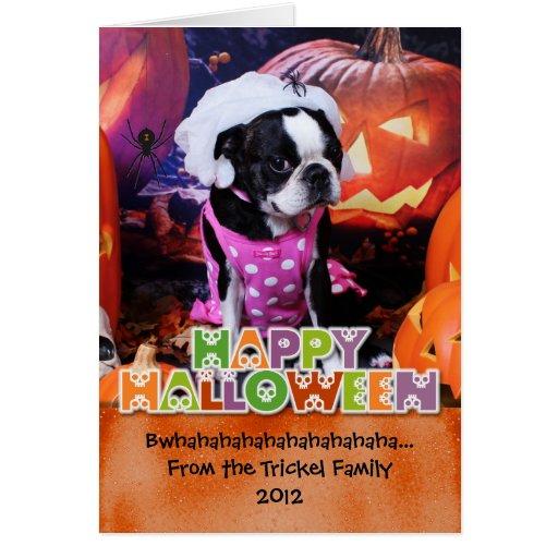 Halloween - Boston Terrier - Georgia Greeting Cards