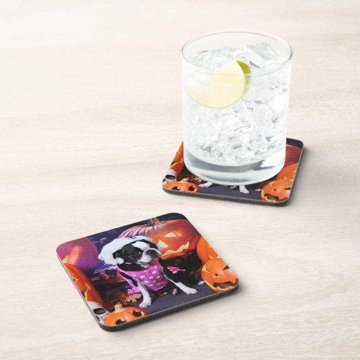 Halloween - Boston Terrier - Georgia Drink Coasters