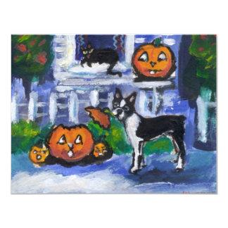 Halloween Boston Terrier mischief Card
