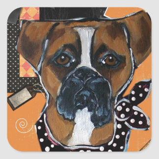 HALLOWEEN BOXER DOG SQUARE STICKER