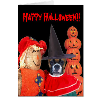 Halloween boxer greeting card