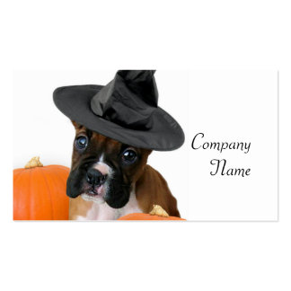 Halloween boxer puppy business cards
