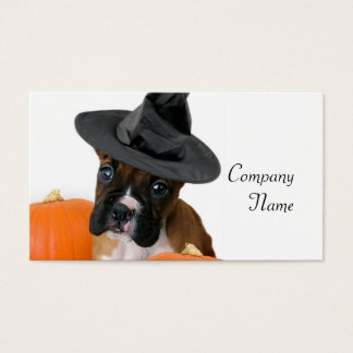 Halloween boxer puppy business card