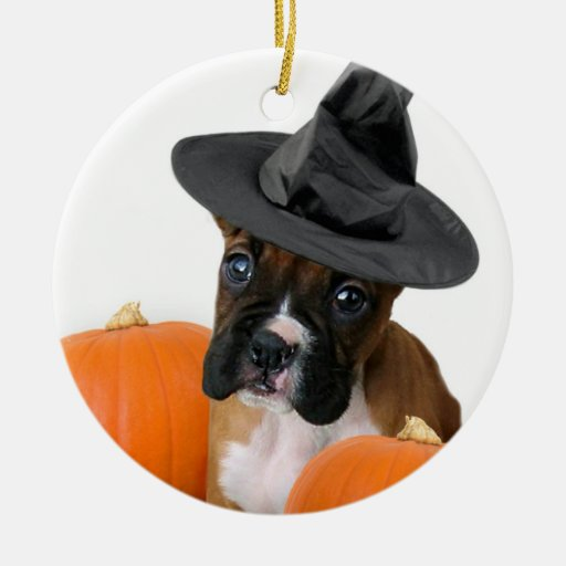 Halloween boxer puppy Double-Sided ceramic round christmas ornament