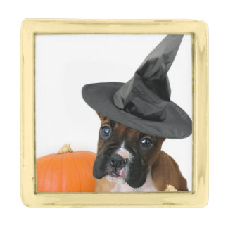 Halloween boxer puppy gold finish lapel pin