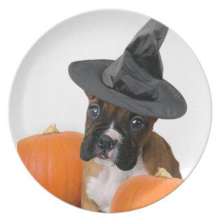 Halloween boxer puppy melamine plate
