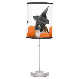 Halloween boxer puppy table lamp
