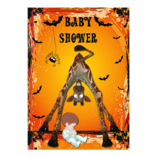 Halloween Boy Baby Shower Funny Giraffe Personalized Invite