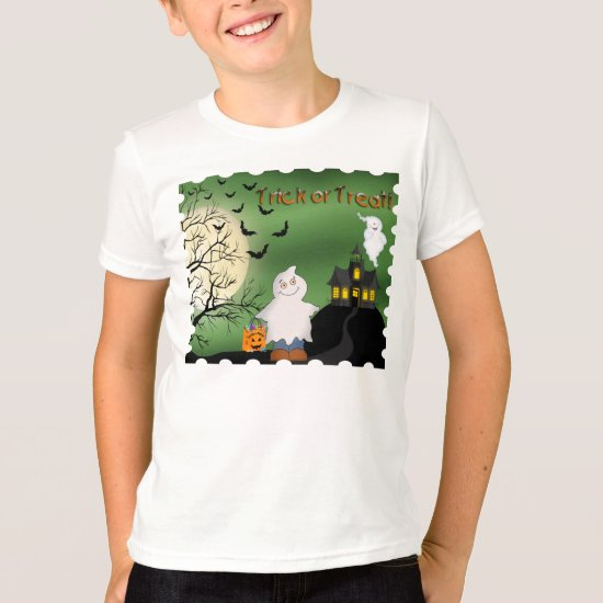 Halloween Boy Ghost Kid's Ringer T-Shirt