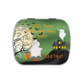 Halloween Boy Ghost Rectangle-Shaped Candy Tin