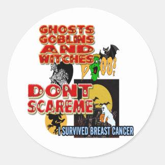 HALLOWEEN BREAST CANCER CLASSIC ROUND STICKER