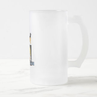HALLOWEEN BREAST CANCER FROSTED GLASS BEER MUG