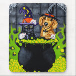 Halloween Brewing Up Trouble - Dachshund and Cat Mouse Pad