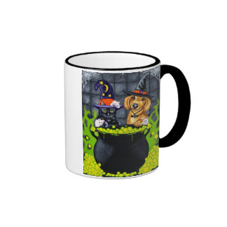Halloween Brewing Up Trouble - Dachshund and Cat Ringer Mug