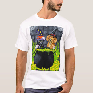 Halloween Brewing Up Trouble - Dachshund and Cat T-Shirt