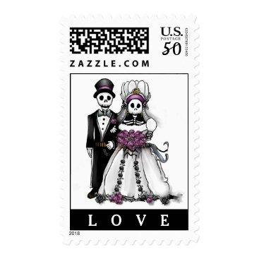 Halloween Themed Halloween Bride & Groom Black White Purple LOVE Postage