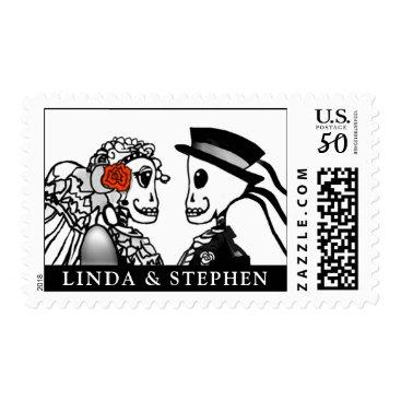 Halloween Themed Halloween Bride & Groom Skeleton Red Rose Names Postage