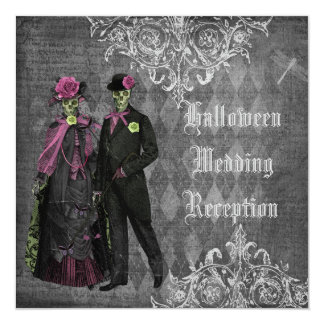 Halloween Bride & Groom Wedding Reception Only 5.25x5.25 Square Paper Invitation Card