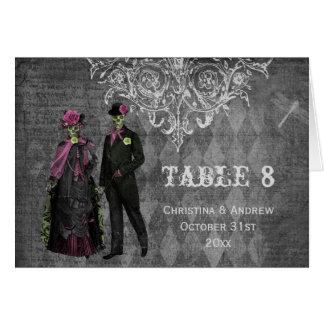 Halloween Bride & Groom Wedding Table Number Card