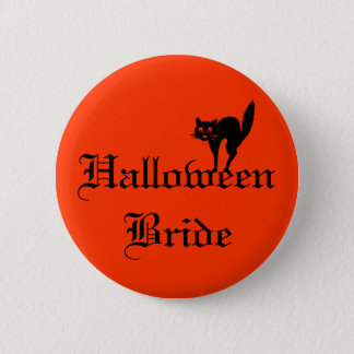 Halloween Bride with black cat Button