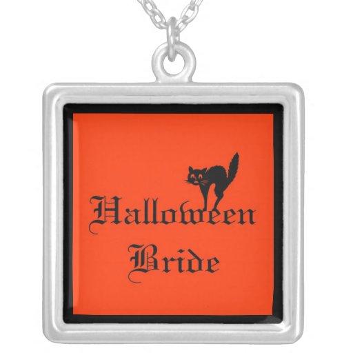 Halloween Bride with black cat Necklace