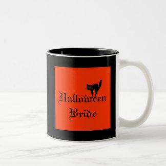 Halloween Bride with black cat Two-Tone Coffee Mug