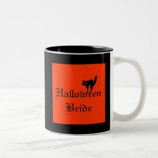 Halloween Bride with black cat Two-Tone Coffee Mug