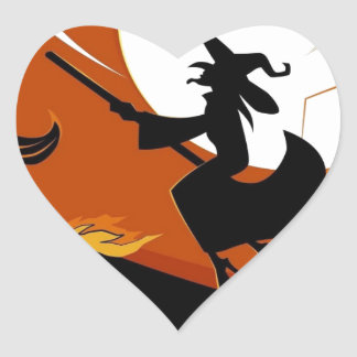 Halloween Broomstick Flying Witch Heart Sticker