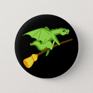 Halloween broomstick pinback button