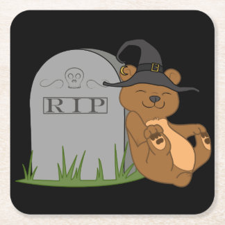 Halloween Brown Bear with Grave Stone Square Paper Coaster