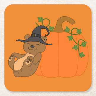 Halloween Brown Bear with Pumpkin Square Paper Coaster