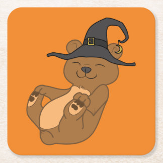 Halloween Brown Bear with Witch Hat Square Paper Coaster