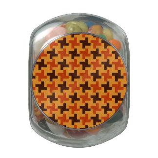 Halloween Brown Bricks Pattern on Yellow Glass Jars