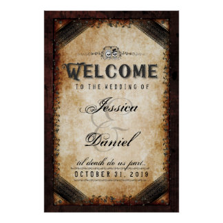 Halloween Brown Gothic 24x36 Welcome to Wedding Poster