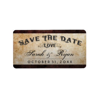 Halloween Brown Gothic LOVE Matching Save Date Label