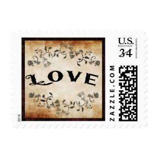 Halloween Brown Gothic LOVE Matching Wedding Postage
