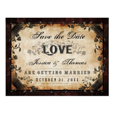 Halloween Themed Halloween Brown Gothic LOVE Save Date PostCard