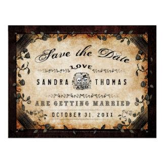 Halloween Brown Gothic LOVE Save Date PostCard