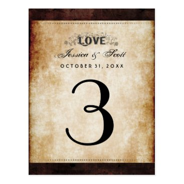 Halloween Themed Halloween Brown Gothic LOVE Table Number Cards