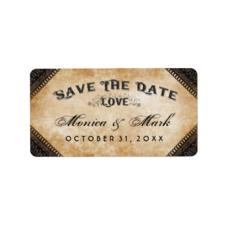 Halloween Brown Gothic Matching LOVE Save Date Address Label