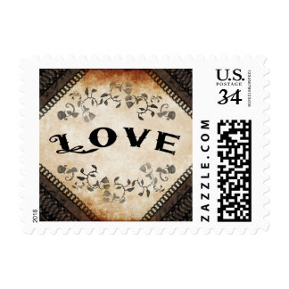 Halloween Brown Gothic Matching Wedding LOVE Postage